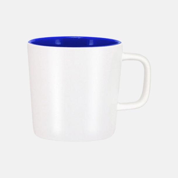 Mattvit/Royal Kaffemuggar med kantiga öron - med reklamtryck