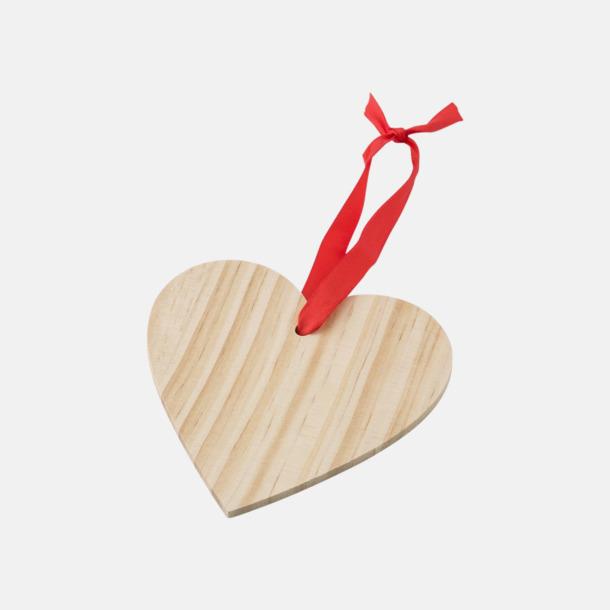 Hjärta Julgranshängare i trä med reklamtryck
