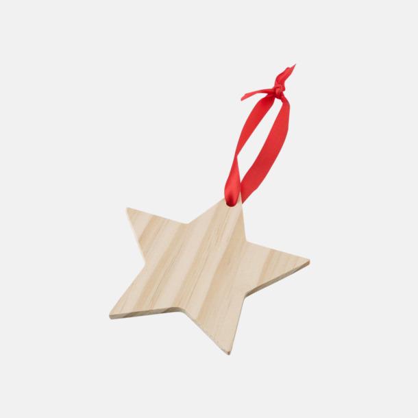 Stjärna Julgranshängare i trä med reklamtryck