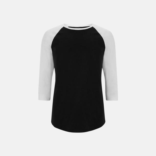 Svart/Vit EkologiskBaseball T-shirt med eget reklamtryck