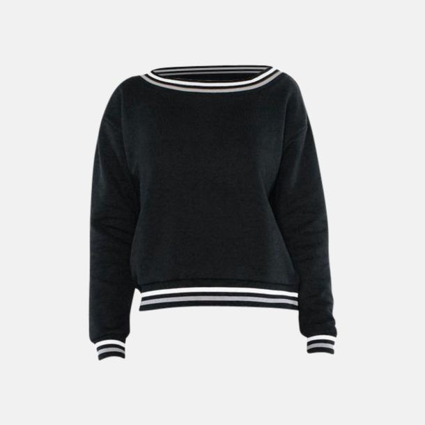 Svart/Vit/Silver Sweatshirt med reklamtryck