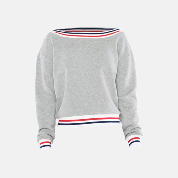 Grå/Marinblå/Röd Sweatshirt med reklamtryck