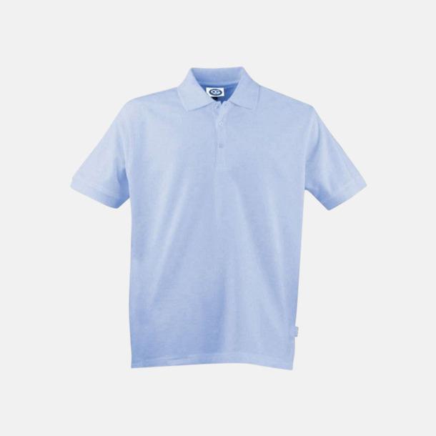 Ljusblå (herr) Arbetspikétröjor i herr- och dammodell med reklamtryck