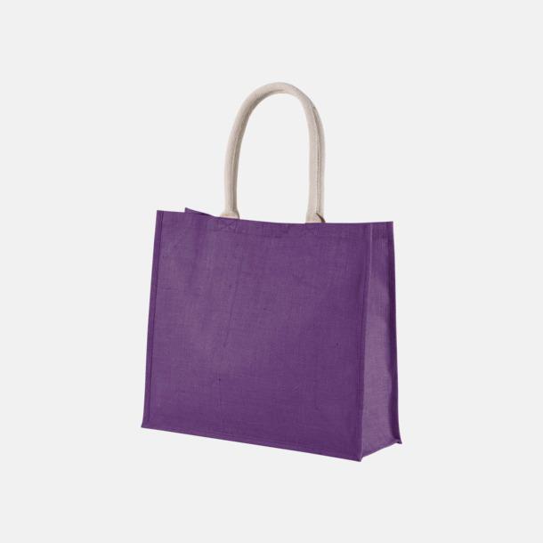 Plum Violet Jute strandbagar med reklamtryck