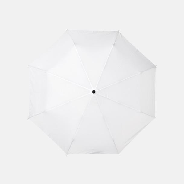 """Vit 23"""" paraplyer av återvunnen plast med reklamtryck"""