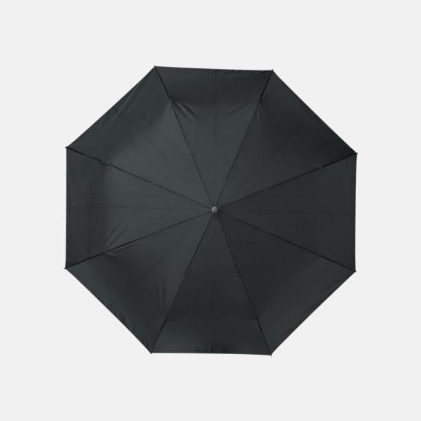 """Svart 23"""" paraplyer av återvunnen plast med reklamtryck"""