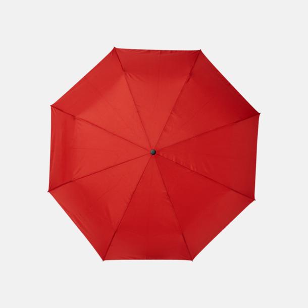 Röd Kompaktparaplyer av återvunnen plast med reklamtryck