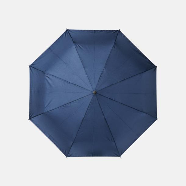 Marinblå Kompaktparaplyer av återvunnen plast med reklamtryck