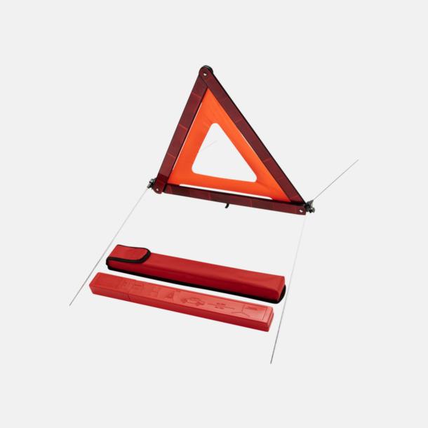 Röd Varningstrianglar i fodral med reklamtryck