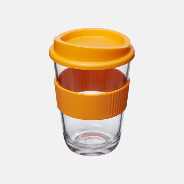 Orange Transparenta 30 cl muggar med lock & grepp - med reklamtryck