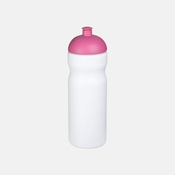 Vit / Rosa 650 ml sportflaskor med reklamtryck
