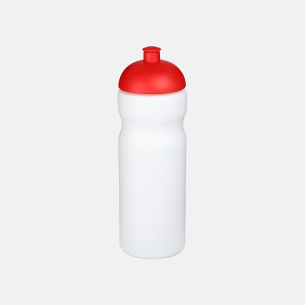 Vit / Röd 650 ml sportflaskor med reklamtryck