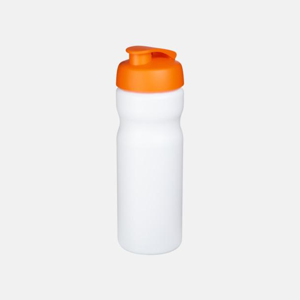 Vit / Orange 65 cl sportflaskor med reklamtryck