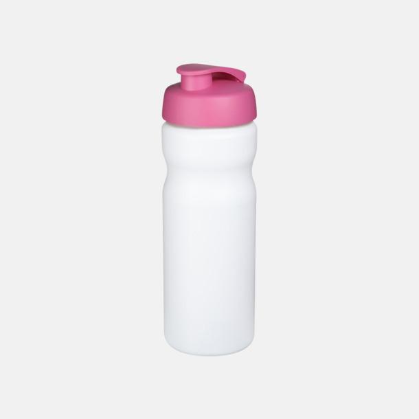 Vit / Rosa 65 cl sportflaskor med reklamtryck
