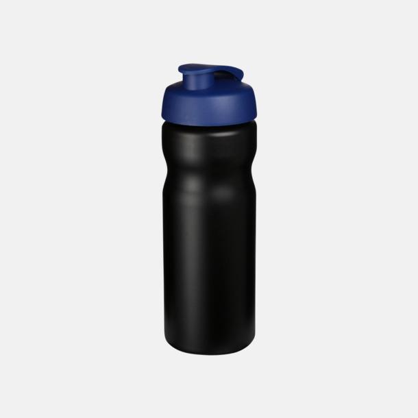 Svart / Blå 65 cl sportflaskor med reklamtryck