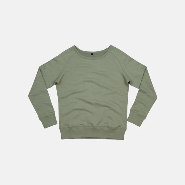 Soft Olive Tjocktröjor i ekobomull & rPET för dam - med reklamtryck