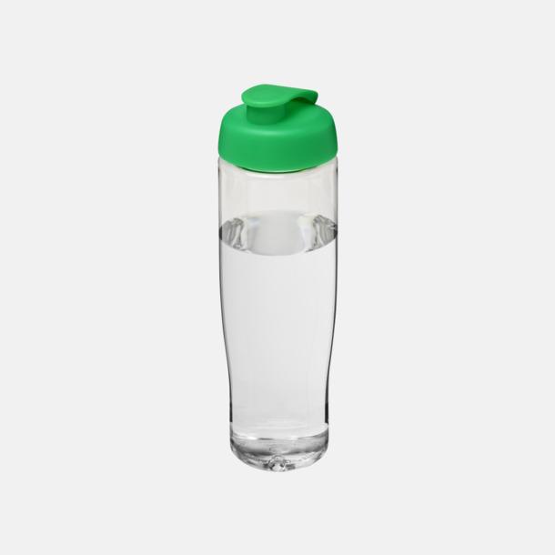 Transparent / Grön 70 cl flaskor i återvunnet material med reklamtryck