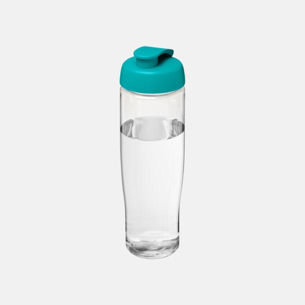 Transparent/Aqua 70 cl flaskor i återvunnet material med reklamtryck
