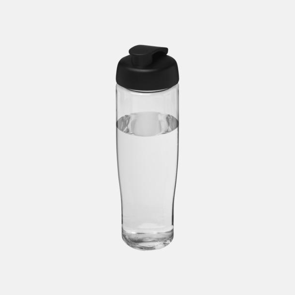 Transparent / Svart 70 cl flaskor i återvunnet material med reklamtryck