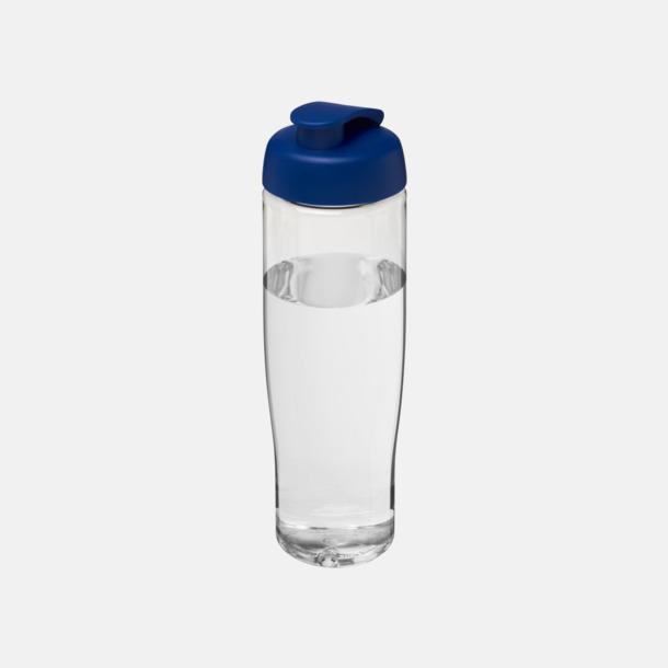 Transparent / Blå 70 cl flaskor i återvunnet material med reklamtryck