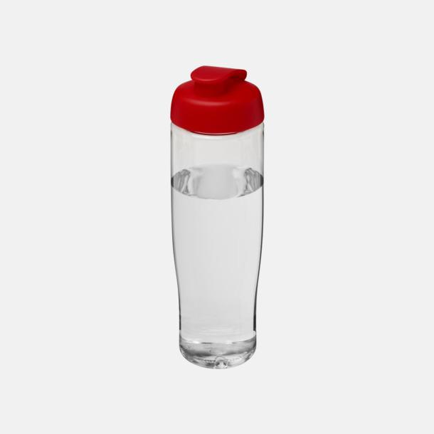 Transparent / Röd 70 cl flaskor i återvunnet material med reklamtryck
