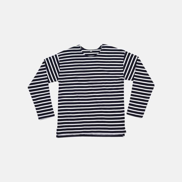 Marinblå / Vit Eko randiga unisex t-shirts med reklamtryck