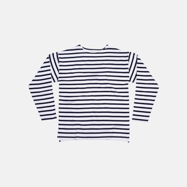 Vit / Marinblå Eko randiga unisex t-shirts med reklamtryck