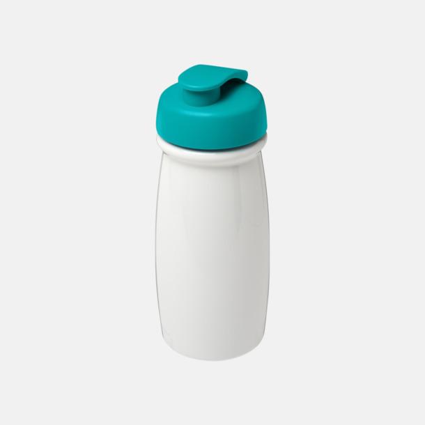 Vit/Aqua 60 cl flaskor i återvunnet material med reklamtryck