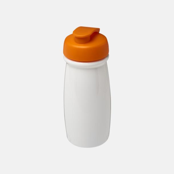 Vit / Orange 60 cl flaskor i återvunnet material med reklamtryck