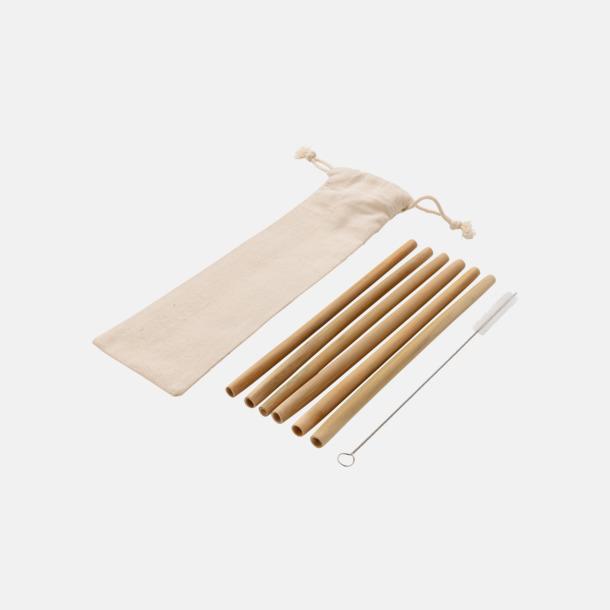 6-pack Återanvändningsbara bambusugrör med reklamtryck