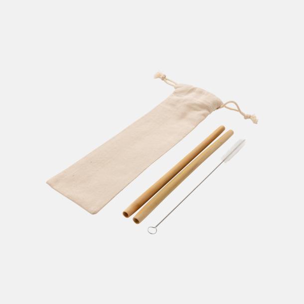 2-pack Återanvändningsbara bambusugrör med reklamtryck