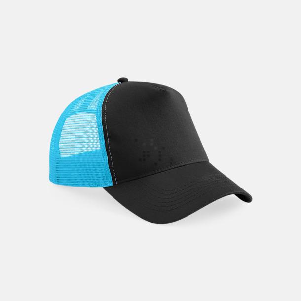 Svart/Surf Blue Truckerkepsar med tryck eller brodyr