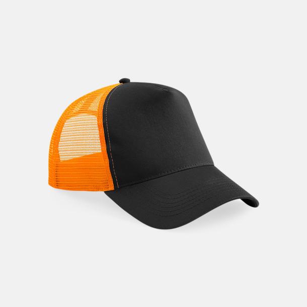 Svart / Orange Truckerkepsar med tryck eller brodyr