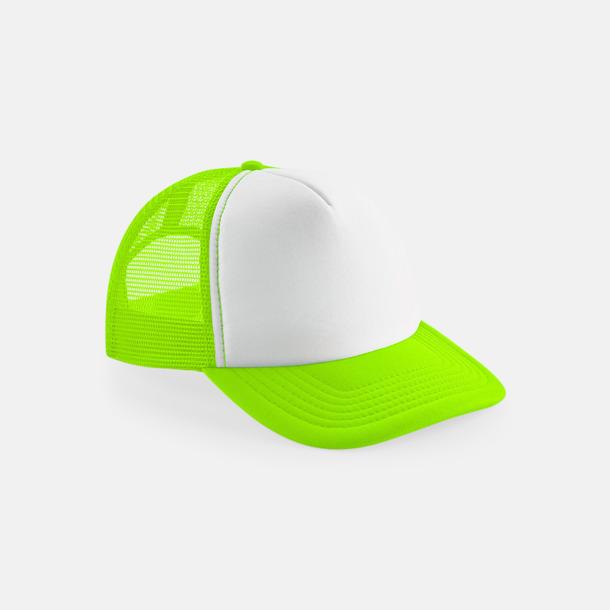 Fluorescerande Grön/Vit (endast vuxen) Trucker kepsar för barn & vuxna - med reklamlogo