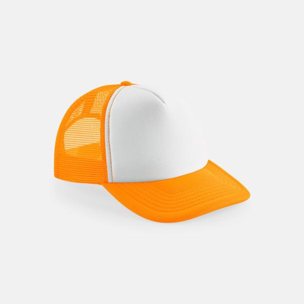 Fluorescerande Orange/Vit (endast vuxen) Trucker kepsar för barn & vuxna - med reklamlogo