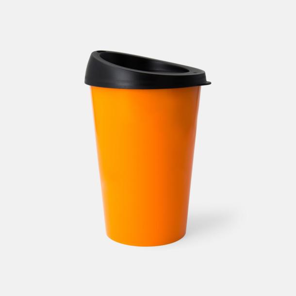 Orange mugg/Svart lock 33 cl take away-muggar med reklamtryck