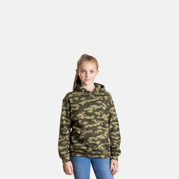 Barnmodell Kamouflage mönstrade huvtröjor med reklamtryck