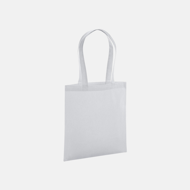 Ljusgrå Eko tygkassar i premiumbomull med reklamtryck