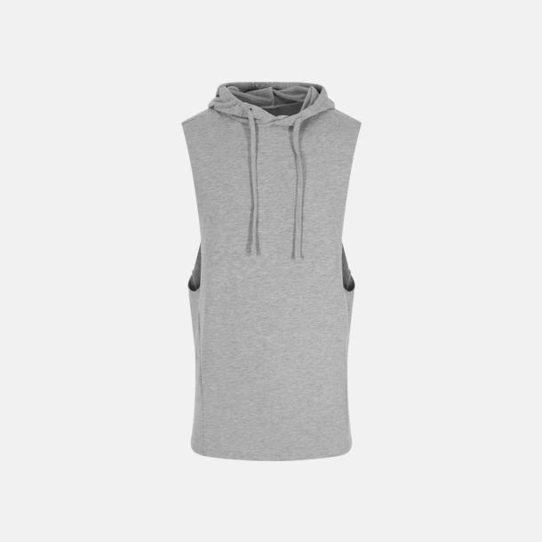Sports Grey Ärmlösa huv t-shirts med reklamtryck