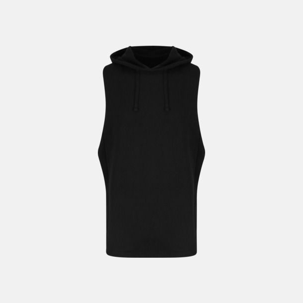 Jet Black Ärmlösa huv t-shirts med reklamtryck
