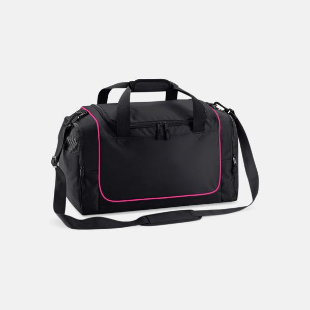 Svart/Fuchsia Kompakta träningsväskor med reklamtryck
