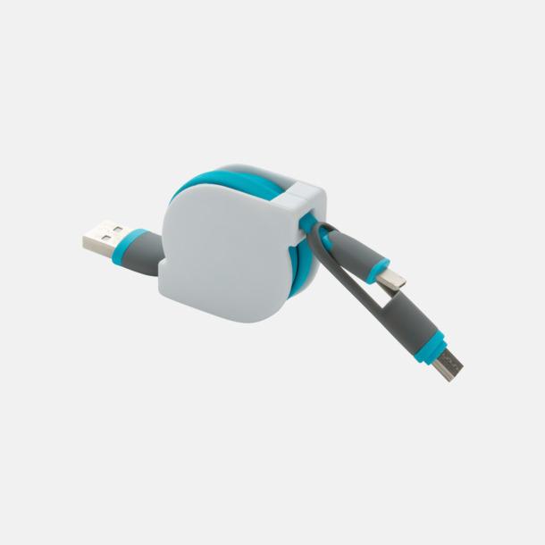 Blå Utdragbar type C-kabel med reklamtryck