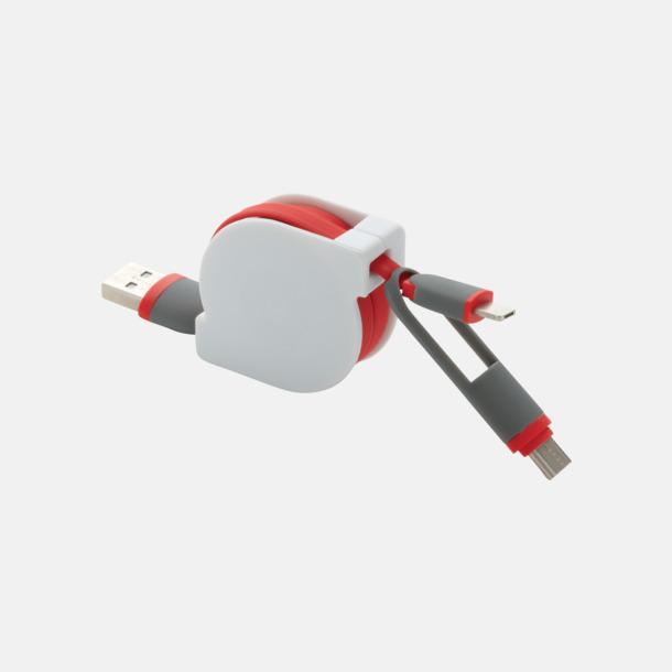 Röd Utdragbar type C-kabel med reklamtryck