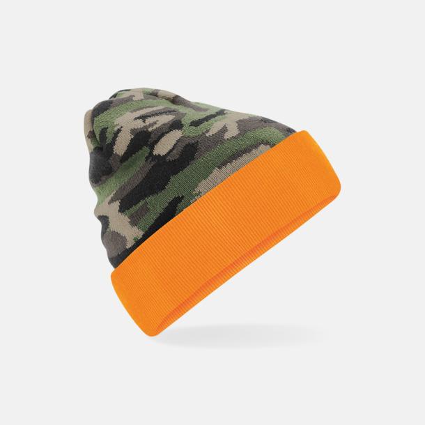 Jungle Camo/Orange Kamouflage mönstrade mössor med reklamtryck
