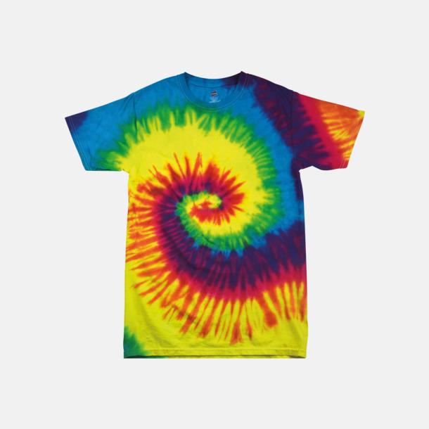 Rainbow Batikfärgade t-shirts med reklamtryck