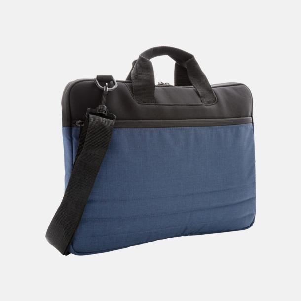 Blå Laptopfodral med axelrem med reklamtryck