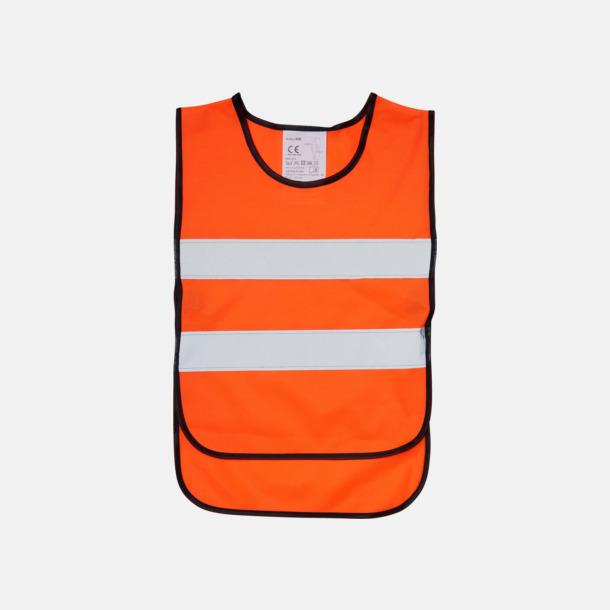 Fluorescerande Orange (PMS 1505) Reflexväst Barn - Billiga barnvästar Med tryck