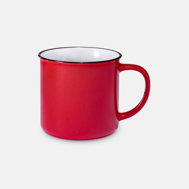 Röd Campingmuggar i keramik på 30 cl med reklamtryck