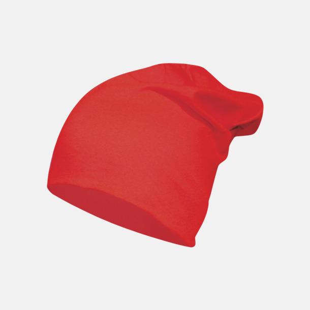 Röd Långa, slätstickade mössor med reklamlogo
