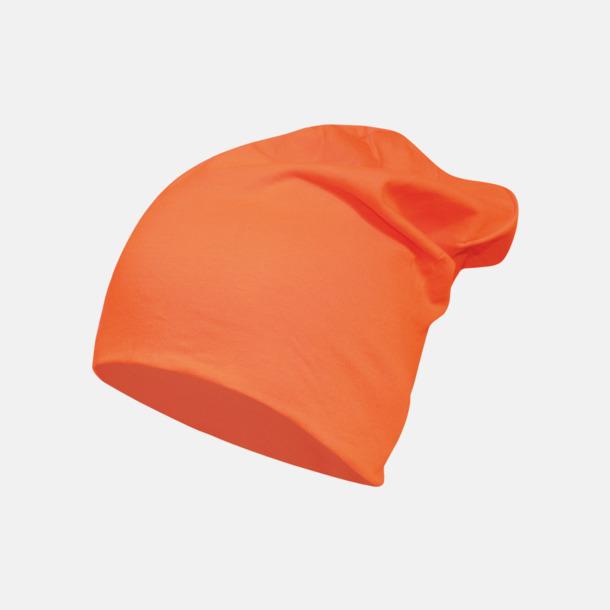 Orange Långa, slätstickade mössor med reklamlogo